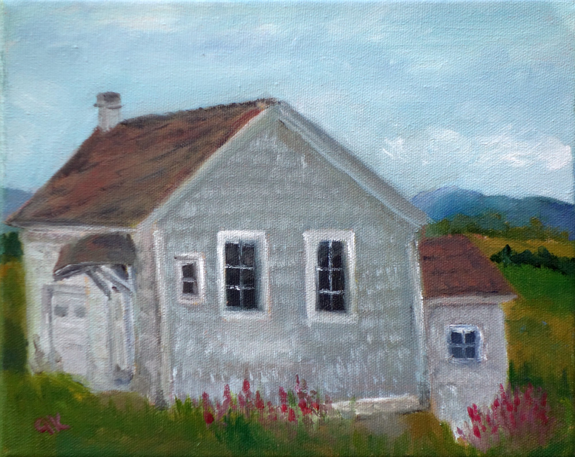 old grey house